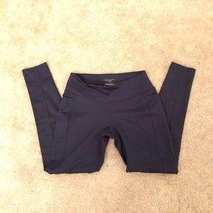 Navy detailed pocketed leggings